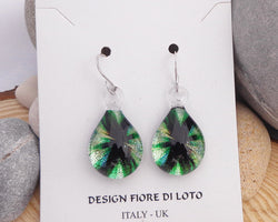 green watercolour teardrop earrings glass earrings lamp work glass jewelry