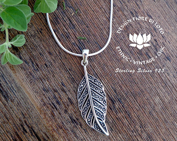 leaf pendant in sterling silver, nature lovers