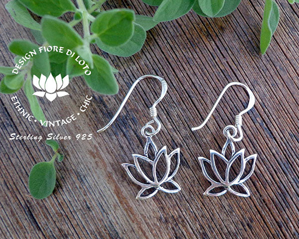 sterling silver lotus earrings, yoga lovers