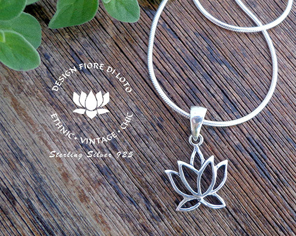 lotus flower sterling silver pendant, yoga lovers