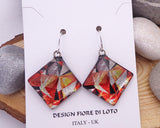 Square earrings,  fused glass earrings, dichroic jewelry