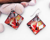 orange kaleidoscope earrings square dichroic earrings, lamp work glass jewelry