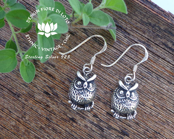 owl earrings in sterling silver, birds of prey bird jewelry wise owl earrings
