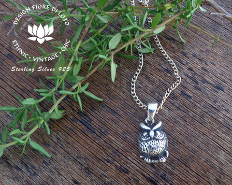 Silver owl pendant owl01 design fiore di loto sterling silver owl pendant bird lovers birds of prey mozeypictures Image collections