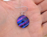 purple shaded earrings, striped earrings, purple glass earrings, lamp work glass jewelry