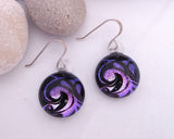 round earrings,  fused glass earrings, dichroic jewelry, spherical drop earrings, circle earrings