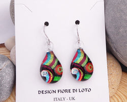 teardrop glass earrings seventies colourful design fused glass jewelry