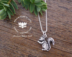 sterling silver squirrel pendant, nature lovers