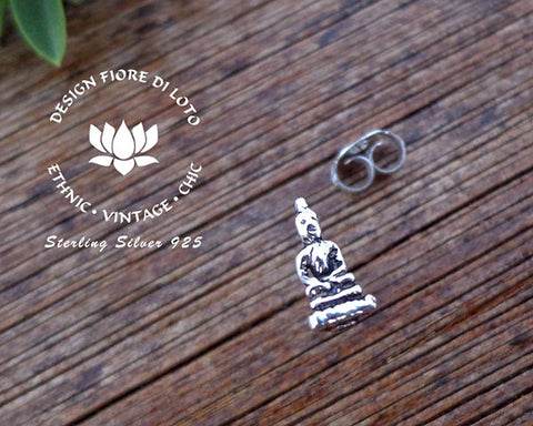 buddha studs in sterling silver, buddhism buddhist jewelry novelty studs religious jewelry