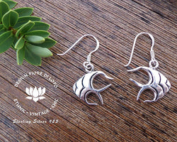 fish earrings in sterling silver, sea lovers, marine life