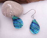 teardrop earrings,  fused glass earrings, dichroic jewelry, drop earrings, domed glass earrings