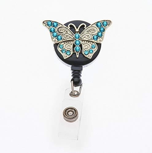 Butterfly Rhinestone Retractable ID Badge Reel Swivel Clip
