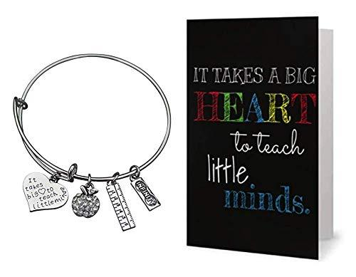 Teacher Bangle Bracelet and Card Gift Set
