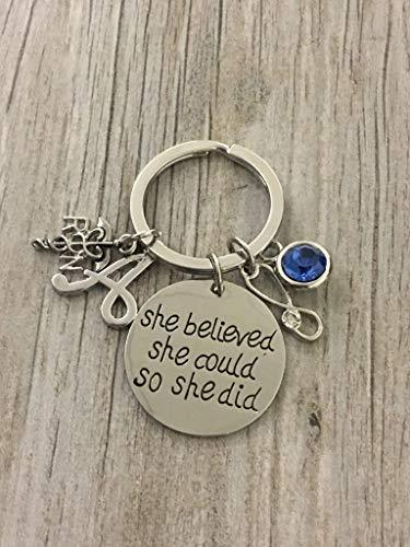 Personalized Nurse Keychain, Custom Nursing Jewelry, She Believed She Could So She Did Nurse Gift - Show Your Nurse Appreciation