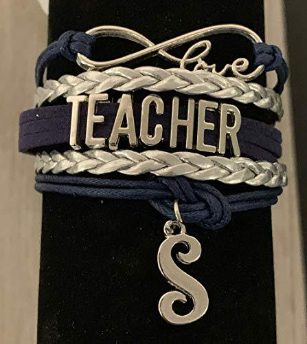 Personalized Teacher Charm Infinity Bracelet with Letter Charm