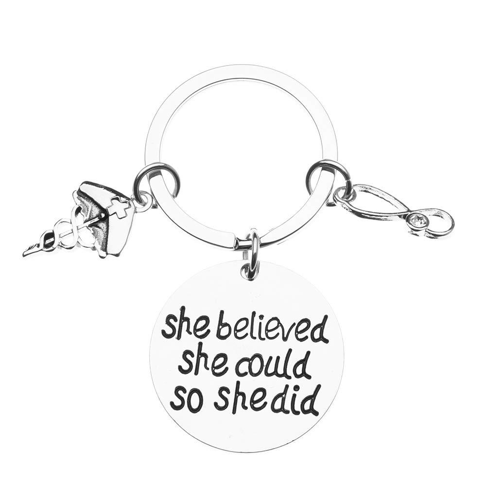 Nurse She Believed She Could Keychain with Birthstone