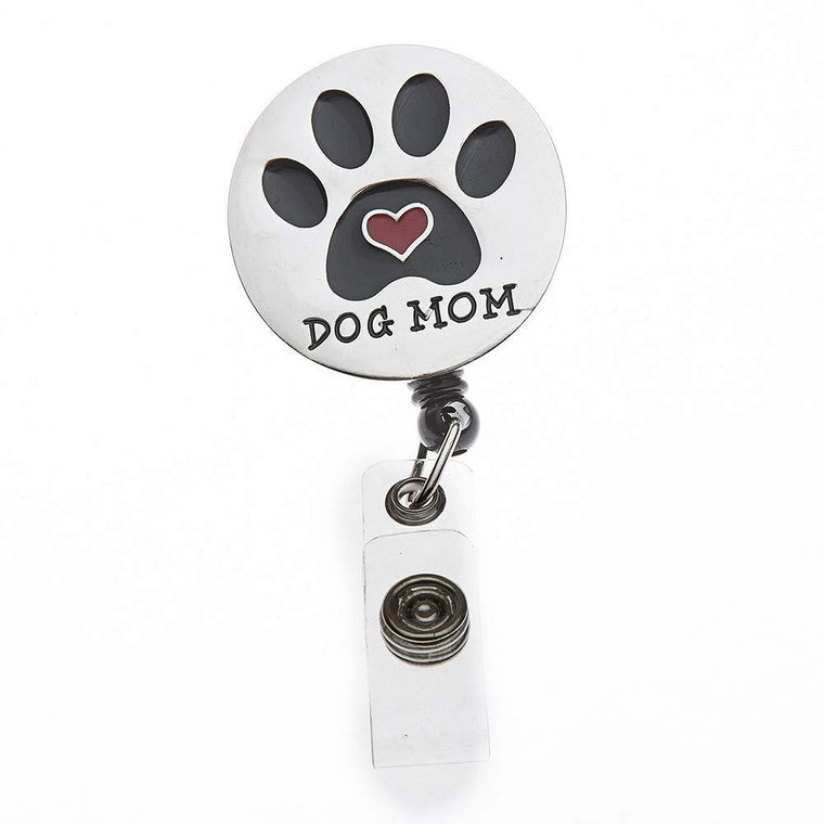 Dog Mom Retractable ID Badge Reel with Swivel Clip