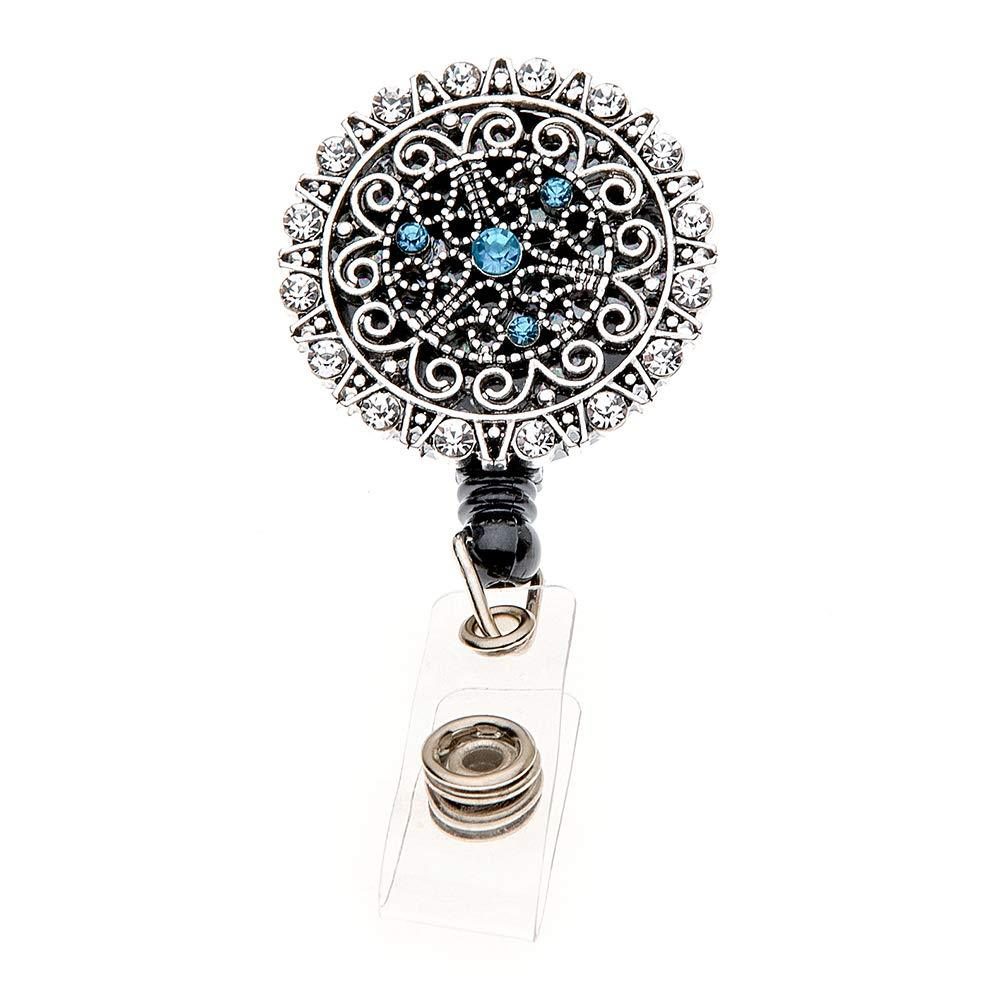 Turquoise Rhinestone Retractable ID Badge Reel with Swivel Clip Badge Holder