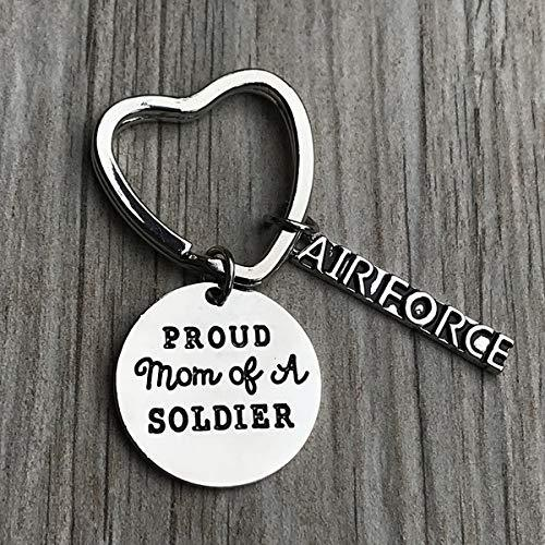 Proud Air Force Mom Keychain, Custom Military Airforce Mom Key Ring, Gift for Moms