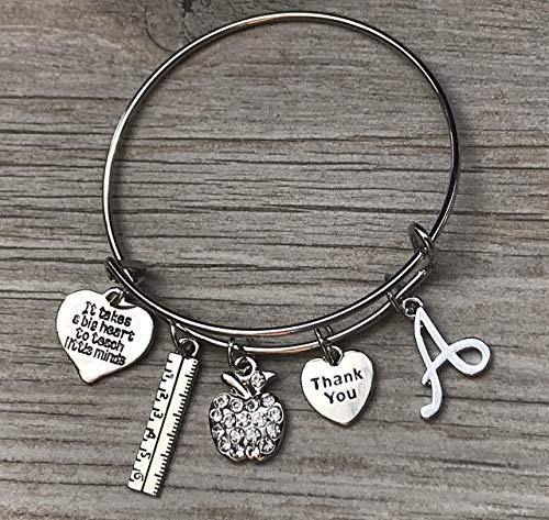 Personalized Teacher Charm Bangle Bracelet