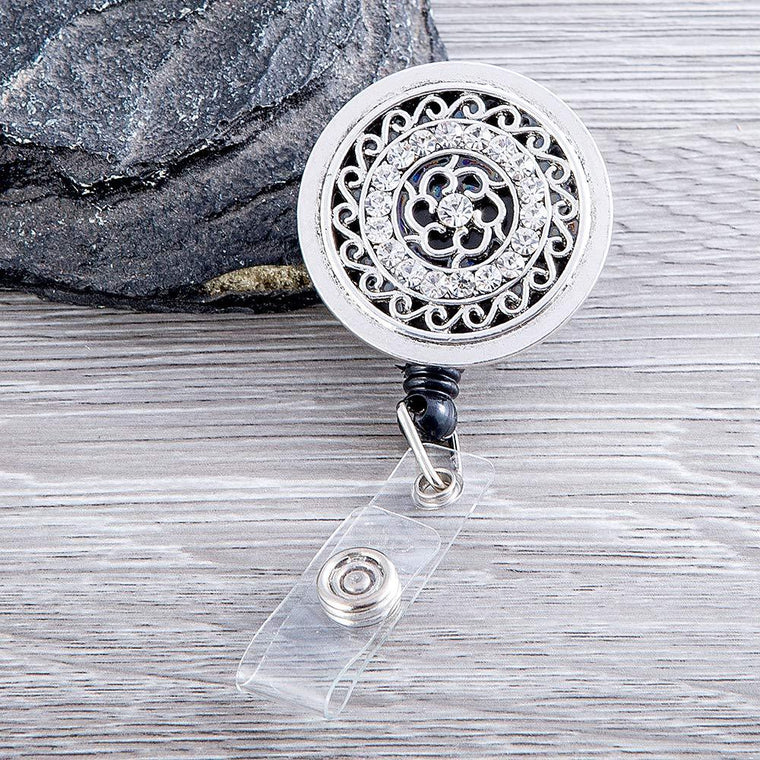 Silver Rhinestone Retractable ID Badge Reel with Swivel Clip