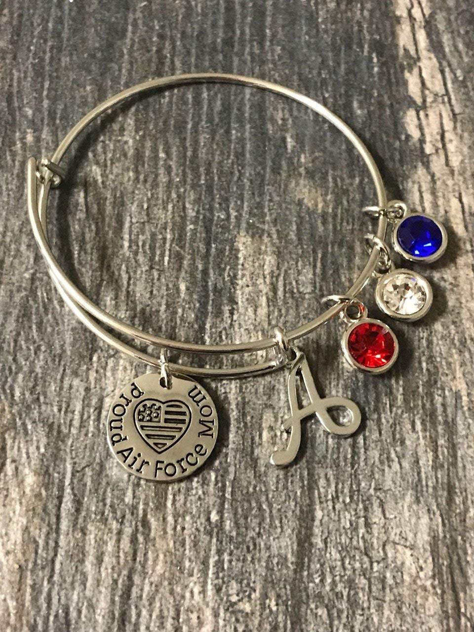 Personalized Airforce Mom Charm Bangle Bracelet with Letter Initial