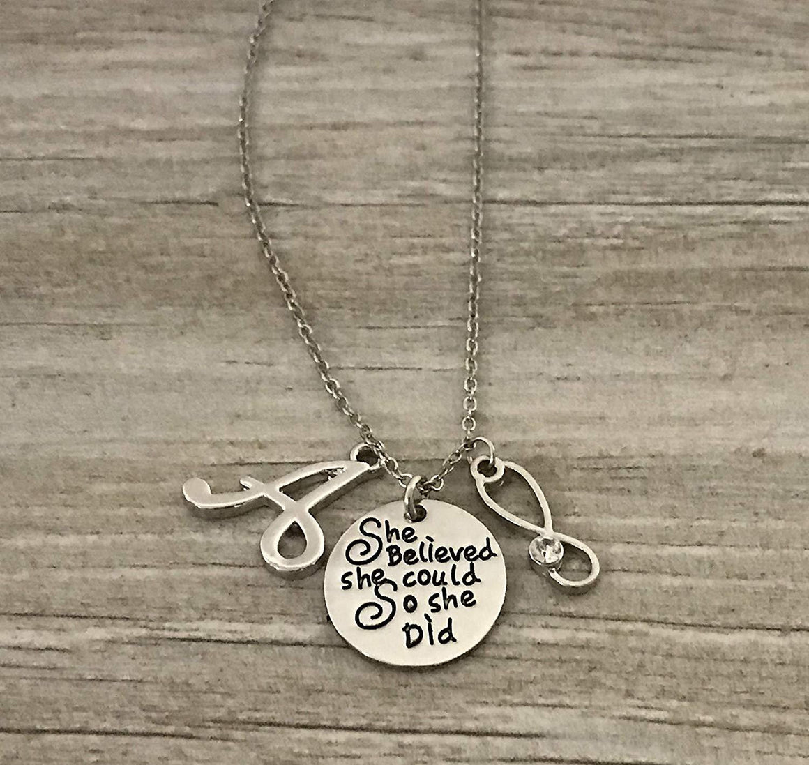 Personalized She Believed She Could Nurse Necklace