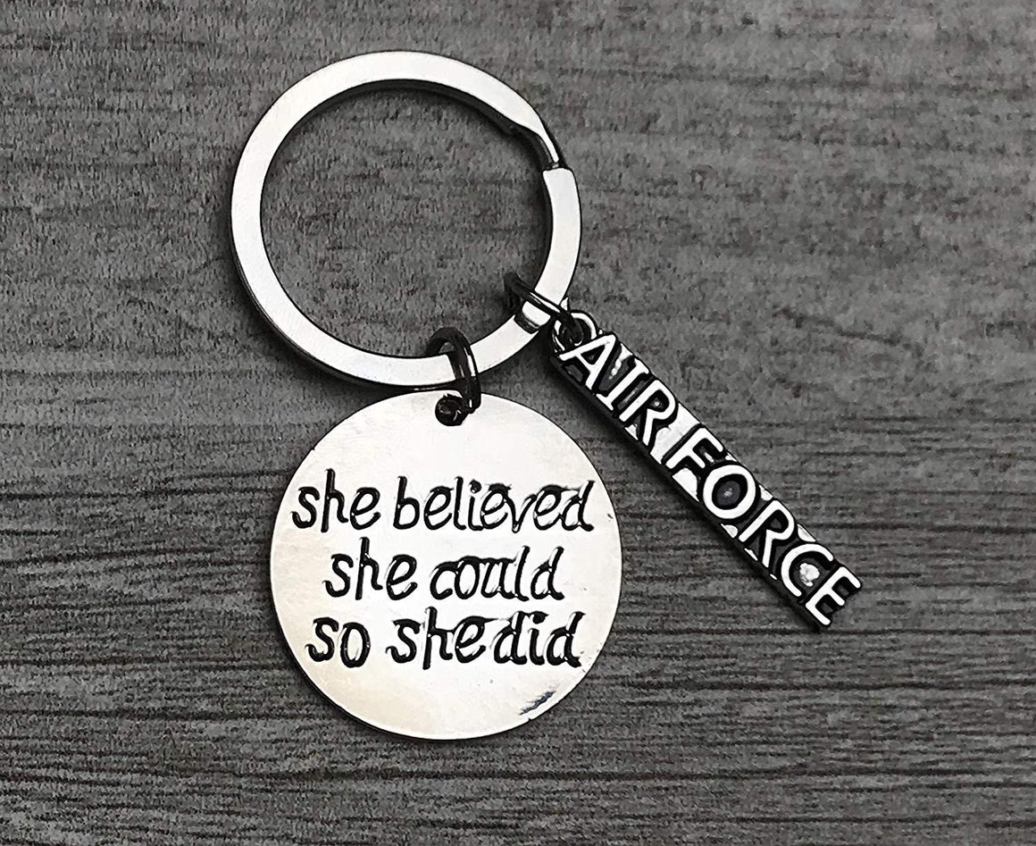 US Air Force She Believed She Could So She Did Keychain, Inspirational Military Airforce Key Ring Gift for Women