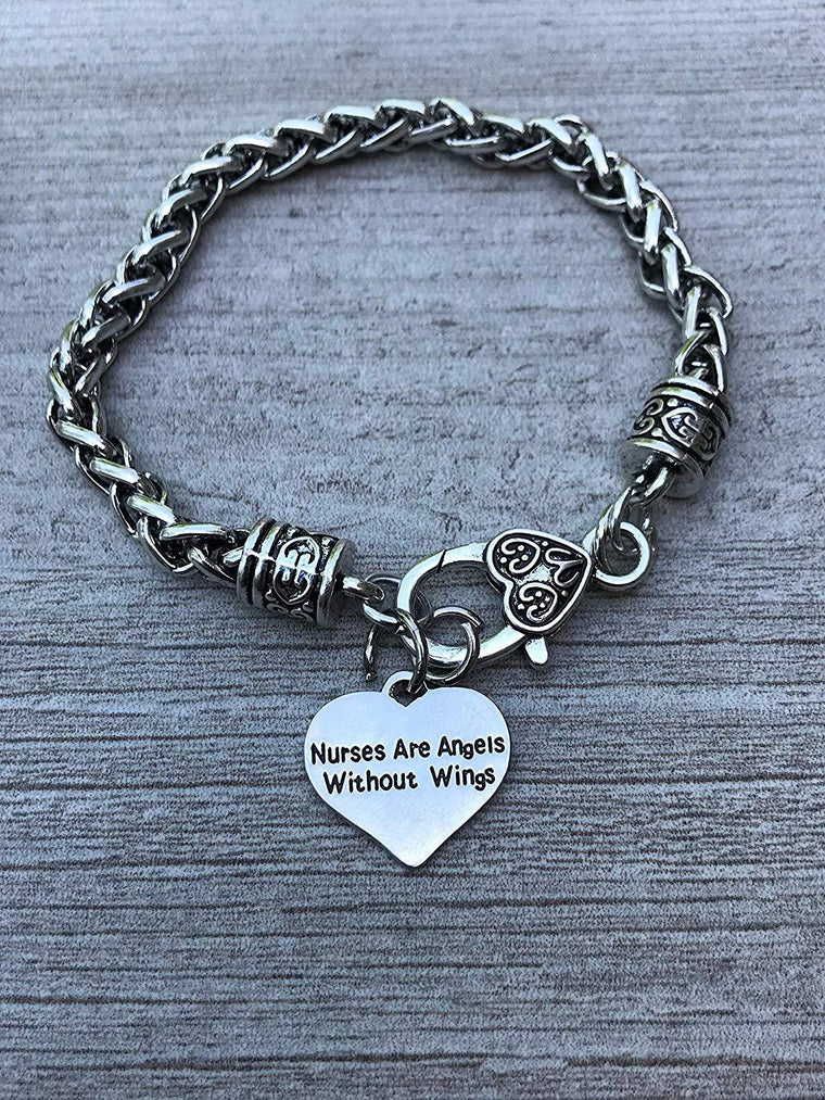 Nurse Charm Bracelet, Nurses are Angels without Wings Jewelry, Nurse Bangle- Makes Perfect Nurse Gifts