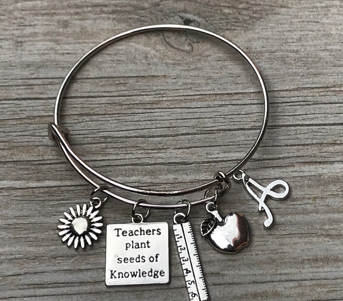 Personalized Teacher Bangle Bracelet