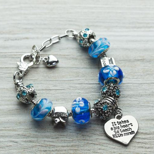 Teacher Big Heart Charm Bracelet