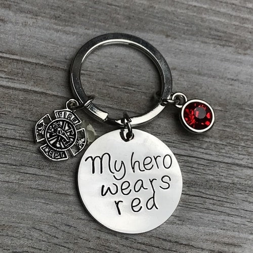 My Hero Wears Red Keychain