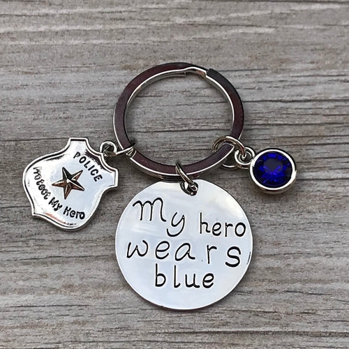 My Hero Wears Blue Keychain
