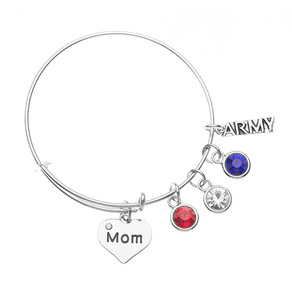 Army Mom Heart Charm Bangle