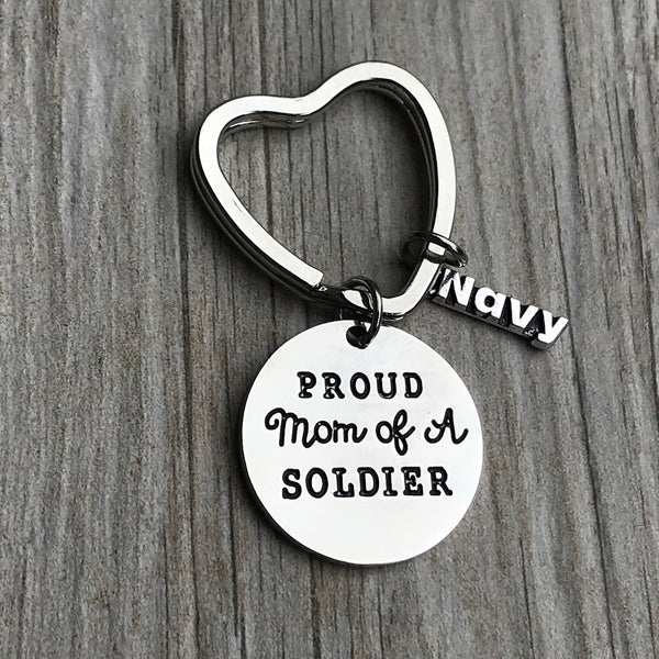Navy Mom Keychain- Proud Soldier Mom Keychain