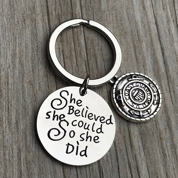 Coast Guard She Believed She Could So She Did Keychain