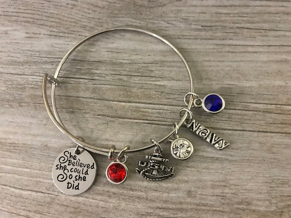 Navy Jewelry, Custom Navy She Believed She Could so She Did Charm Bangle Bracelet For Women, Navy Gift for Women