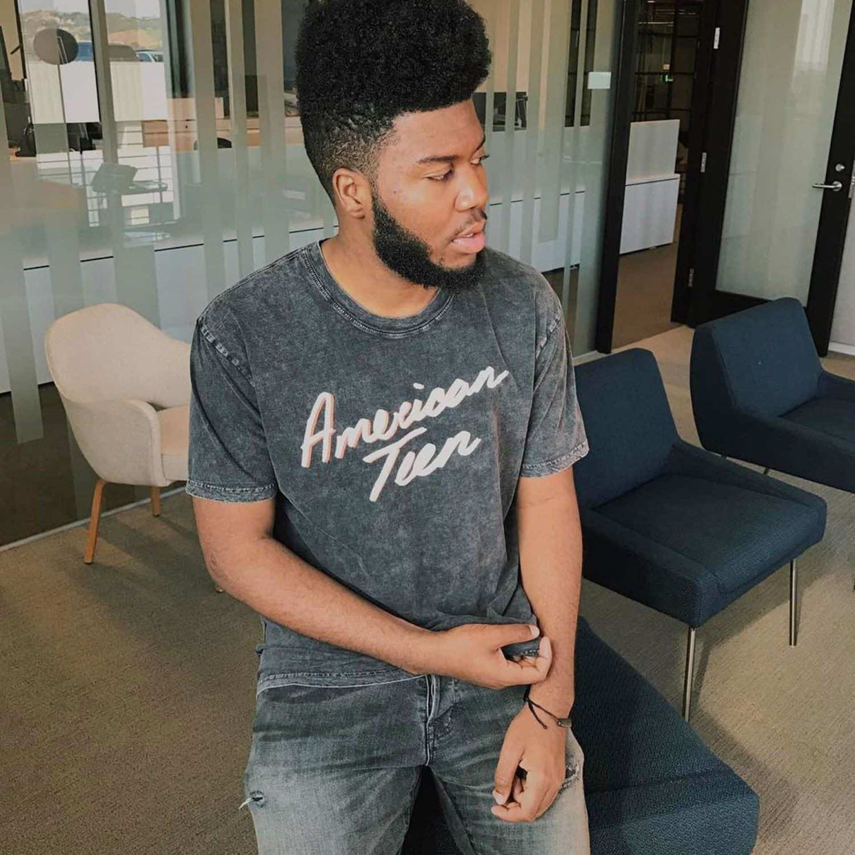 American Teen Stone Washed Tee Khalid Official