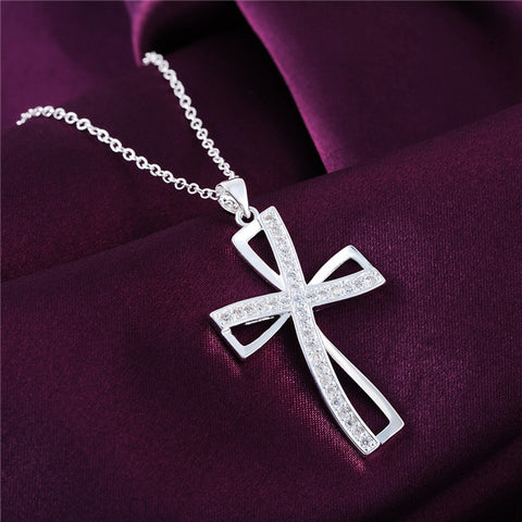 Silver Cross Pendant necklace with zircons engraved -Perfect GIFT