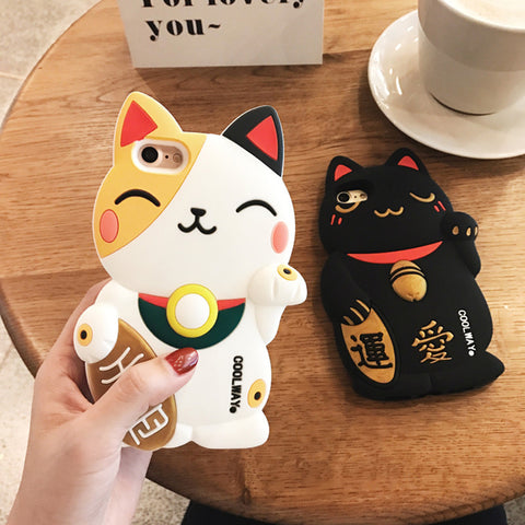 Cute 3D Cartoon Lucky cat Soft silicon case For iPhone 6/6s/ 7/ 6 plus/ 6s plus / 7plus