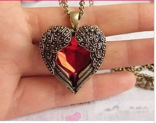 Red Crystal  Angel Heart Pedants Neckalce