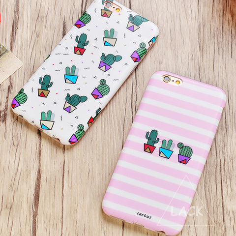 Cute Plants Cactus Capa Coque with Fashion Zebra Stripe Case For iphone 6/6S 6 Plus
