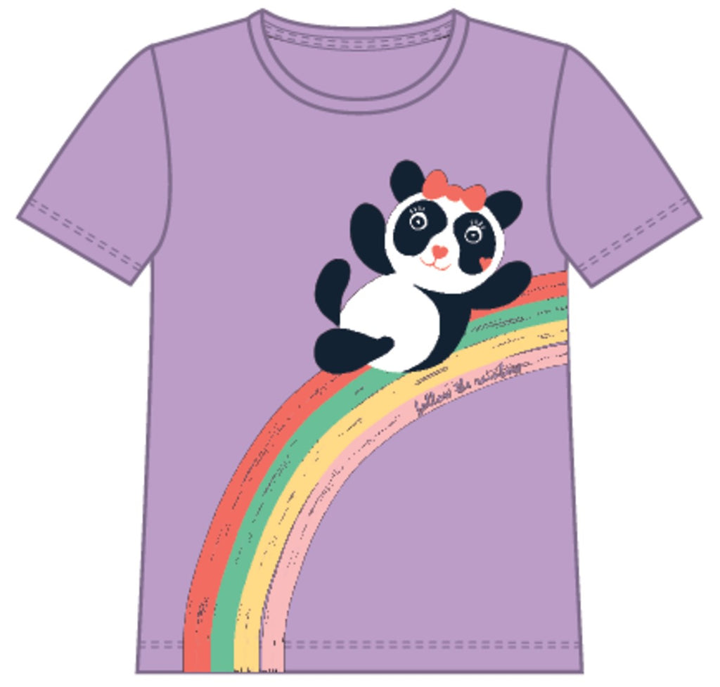 Name it : Paarse T-shirt met panda T-shirt Outlet Kamélie.be