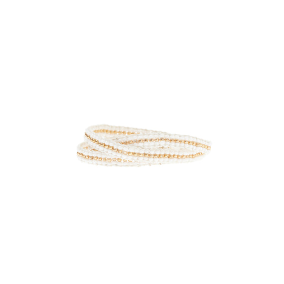 Triple Wrap Warrior White & Gold bead bracelet by Sidai Designs - available at collectiveboutique.co.uk