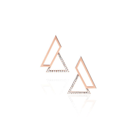 Triangle Rose Gold Swarovski Earrings by Osylia Jewellery - available at collectiveboutique.co.uk