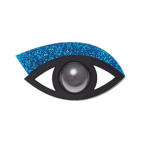 Jennifer Loiselle Blue Glitter Eye brooch