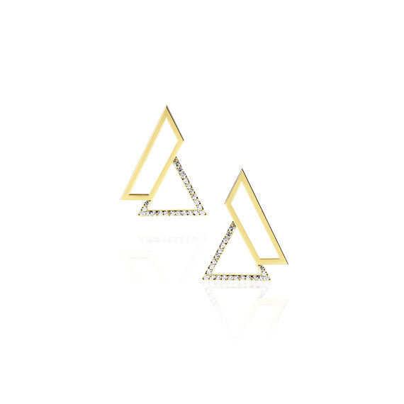 Triangle Gold Swarovski Earrings by Osylia Jewellery - available at collectiveboutique.co.uk