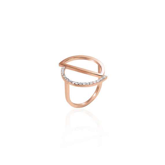 Circle Rose Gold Swarovski Ring by Osylia Jewellery - available at collectiveboutique.co.uk