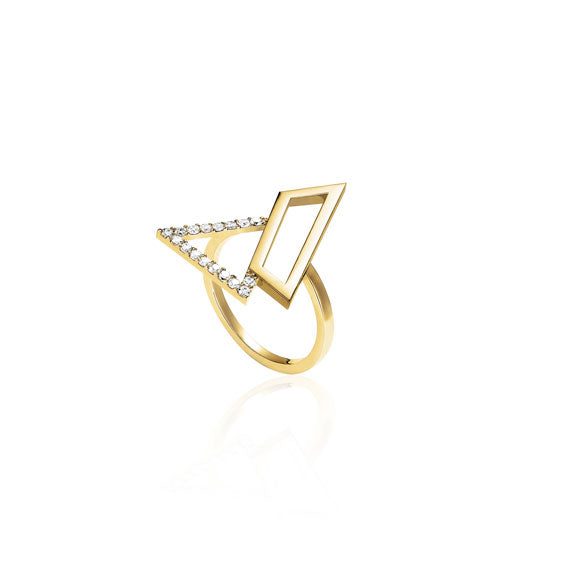 Triangle Gold Swarovski Ring by Osylia Jewellery - available at collectiveboutique.co.uk