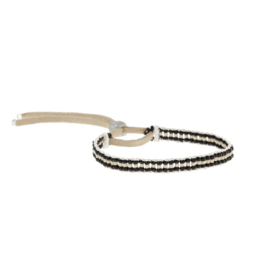 Warrior Stripe Black & Cream Beaded Bracelet by Sidai Designs - available at collectiveboutique.co.uk